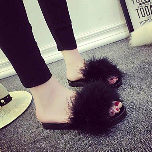 216a86fc1fb7 Claquette Sur Les Glissez Plat Noir Slipper En Fourrure Fausse Fluffy Flop  Sandal Diapositives Rawdah Fille Chaussures Flip Femme rYwCqXr