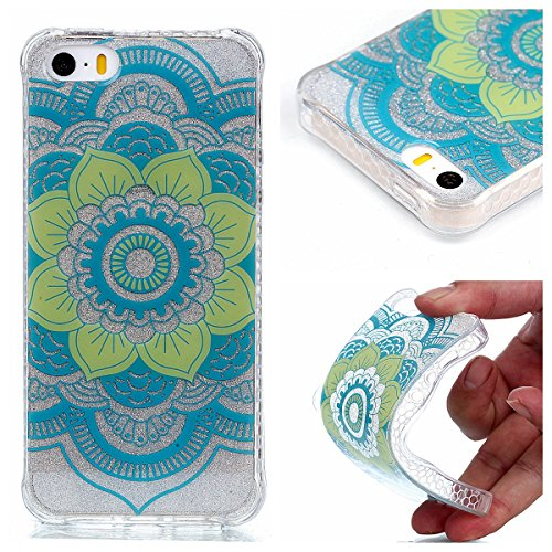 Coque iPhone SE/5/5s, Cozy Hut® [ Anti-Scratch] Ultra Mince Premium TPU silicone Case [Bling Crystal] ** Eclatant et Brillant ** Glitter Crystal Quartz / Bumper-Style / Anti-choc / Adherence exacte /  datura