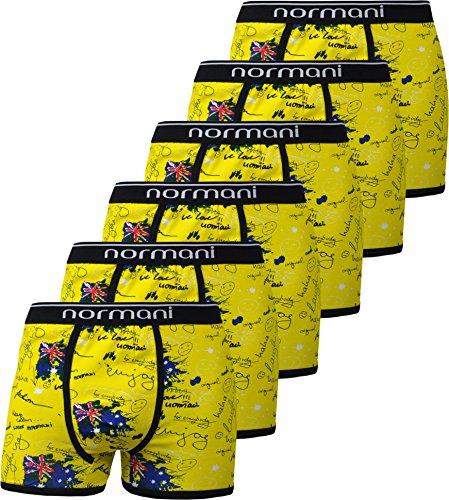Crazy-boxer-shorts (6 x normani® Herren Style Boxershorts aus Baumwolle mit Elasthan im 6er Pack Farbe Crazy Yellow Britannia Größe XXL)