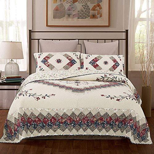 ZTMN 100% Baumwolle Gesteppte Tagesdecke King Size, Patchwork Antik Floral Bedruckt reversibel bestickte Quilts Set weiches Leichtgewicht Marokko Stil, 245x270cm -