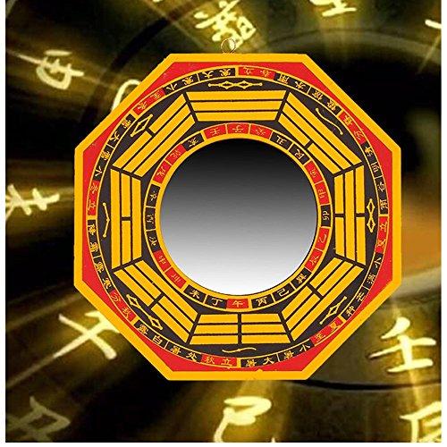 su-luoyu Feng Shui Spiegel Bagua Spiegel, Chinesischer Traditionellen Konvex und konkav Spiegel, Wanddeko Spiegel, 17 cm Holz