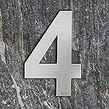 qobobo® Numero civico 4 Quattro in Acciaio inossidabile 304 Aspetto galleggiante, Spazzolato / 200 x 135 x 2mm