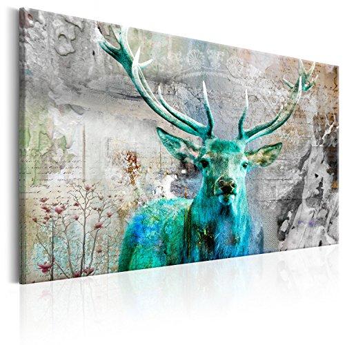 murando Bilder Hirsch 120x80 cm - Leinwandbilder - Fertig Aufgespannt - Leinwand - 1 Teilig - Wandbilder XXL - Kunstdrucke - Wandbild - Tiere Abstrakt g-C-0060-b-c (Hirsch-dekoration)