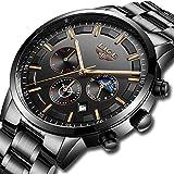 Uhren für Männer, Herren Edelstahl Uhren Herren Chronograph Wasserdicht Sport Armbanduhr Datum Quarz-Armbanduhr Klassisches mit schwarzem Zifferblatt