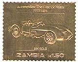 22K Carat oro Leaf auto 100 classici francobolli auto FERRARI / 1987 / Zambia / MNH /