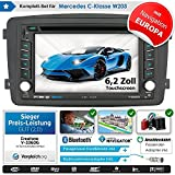 2DIN Autoradio CREATONE V-336DG für Mercedes C-Klasse W203 (03/2000-08/2004) mit GPS Navigation (Europa), Bluetooth, Touchscreen, DVD-Player und USB/SD-Funktion