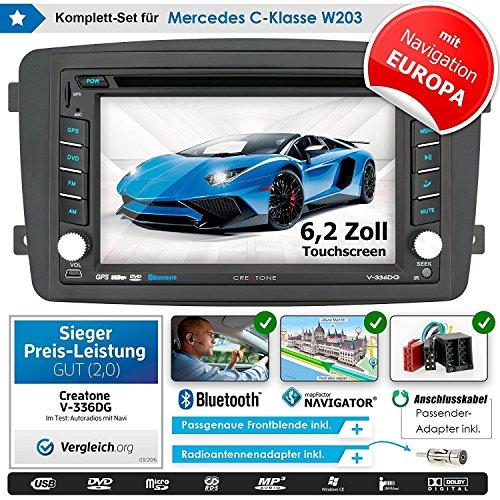 2DIN Auto Radio Creatone V de 336dg para Mercedes Clase C W203(03/2000–08/2004) con GPS Navegación (Europa), Bluetooth, pantalla táctil, reproductor de DVD y función de USB/SD