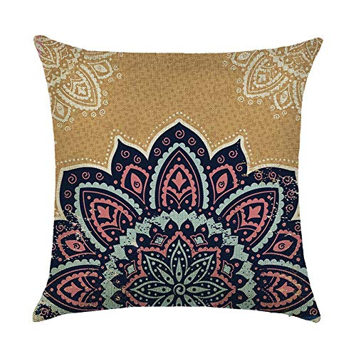 Thick Cushion Covers Southeast Asian Style Mandala Polyester Plush Fabrics Double-Sided Square Pillow Case Cushion for Home Chair Sofa Bed Shop Bar Club Car Office Decor (Dark Blue 05)