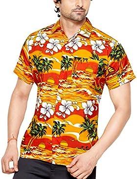 CLUB CUBANA Camicia da Uomo Hawaiana Floreale Classica Casual a Maniche Corte Slim Fit
