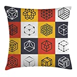 ya05263 Modern Decor Throw Pillow Cushion Cover by, Collage of Geometrical Shapes Futuristic Squares Rubic Cubes Artwork Image, Decorative Square Accent Pillow Case, 20 X 20 inches, Multicolor