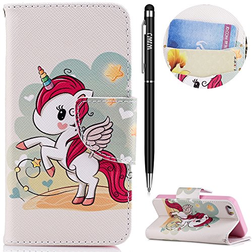 WIWJ iPhone 5S Hülle,iPhone 5 Leather Handyhülle, Wallet Case[Messer Schnalle Gemalt Stand Handy...
