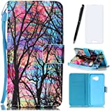 Lotuslnn Coque Samsung Galaxy A3 2016, Housse Samsung Galaxy A3 2016/SM-A310 Cuir Etui Flip Wallet Case-( Coque+ Stylus Stift+Screen Protector)- Arbre