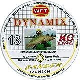 WFT Round Dynamix Zander yellow 150m, geflochtene Schnur fürs Zanderangeln, Raubfischschnur, gelbe Angelschnur, Durchmesser/Tragkraft:0.14mm / 13kg Tragkraft