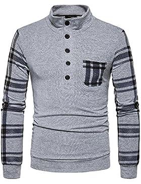 Jersey de manga larga en una cuadrícula de ocio Kit Sau cabeza cuello alto hombres, gris claro ,XL