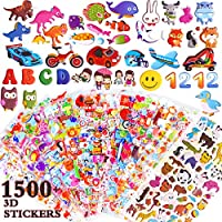 ZesGood 25 Pack Stickers for Kids 3D Puffy Stickers for Kids, Fashion Stickers with Animals, Cars, Letters, Flowers, Fishes and More (1500pcs)
