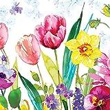 """""""Lea, diseño de tulipanes–Pack de 20servilletas de papel–33x 33cm–3capas–floral collage"""