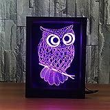3D Visuelles Effekt Nachtlicht, Hi-azul Photo-Frame-Typ 7-Farben ändern Fernbedienung & Touch Tisch Schreibtisch Lampe Deko Lampe 3D Optische Illusion LED Nachtlicht für Geschenke (Eule)