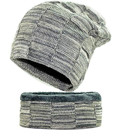 Bib Suit Männer Plaid Wollmütze Damen Plus SAMT dicken Strickmütze (Farbe : E)