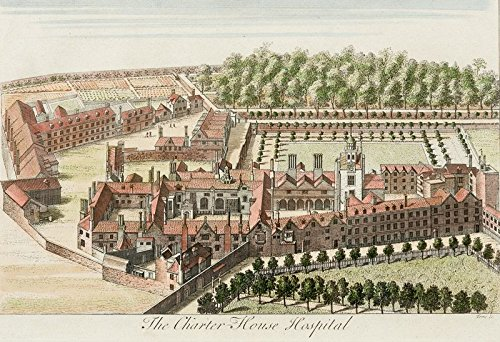 The Charter House Hospital [London]. / Hand Coloured Architectural Birds Eye View of The Charter House Hospital, London View Bird House