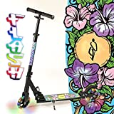 Hepros Vollgefedert XXL Flash Fully Scooter 145mm Leuchträder Cityroller Black - Flower