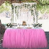 OurWarm Tutu Tabella Gonna Tulle Tovaglia Wedding Baby Shower Compleanno Ragazza Principessa Decorazioni Party 100cm x 80cm Rosa