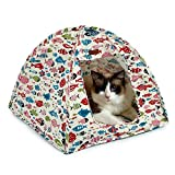 Doglemi Cat Pet Tente Coussin Maison (Inclus) Lit Pliable Durable Cute Motif Poissons Cave