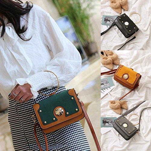 BZLine® Frauen Winter Frosted Style Patchwork Handtasche Crossbody Umhängetaschen Schwarz