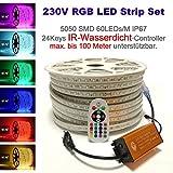 230V LED RGB Mehrfarbig Strip Streifen Lichtband Flex Band mit 5050 SMD 60LEDs pro Meter IP67 - Wasserfest mit IP65 Infrarot (IR) Controller + 24 Keys Fernbedienung, 15 Meter