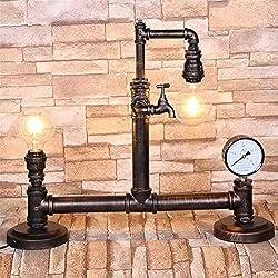 Lampade da tavolo Lampade da scrivania Tubi Table Lamp industriale Vintage Steampunk ferro battuto Acqua da letto Soggiorno Cafe fatti a mano tavolo luminoso Studiare Desk Lamp Lampada da comodino
