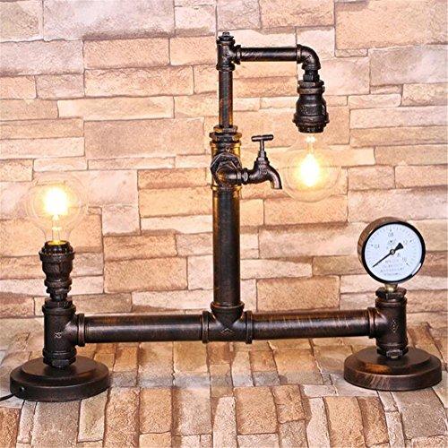Atmko®Schreibtischlampe Tischleuchte Industrie-Vintage Steampunk Schmiedeeisen Wasserrohre Tischlampe Schlafzimmer Wohnzimmer Cafe Hand-Made Tischleuchte Studium Schreibtisch Lampe - Industrie-schreibtisch-lampe