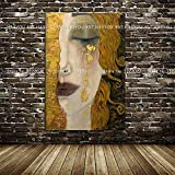 Quadri Le Lacrime d'oro di Gustav Klimt Pittura Moderna Pittura a Olio Quardro Immagini Parete for Soggiorno Home Decor (Size (inch) : 90x120cm)