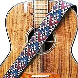 WINGO 2'Sangle de guitare avec extrémités en cuir véritable réglables pour guitares acoustiques basses et guitares acoustiques - pour cadeau de musicien.