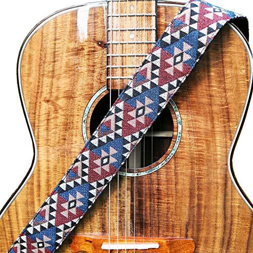 """WINGO Ajustables Correa de Guitarra 2"""" con Cuero Genuino extremos para Bajo Española Clásica Acústica Folk Eléctrica Guitarra y 2 Púas de Guitarra- Vintage Correa para Músico."""