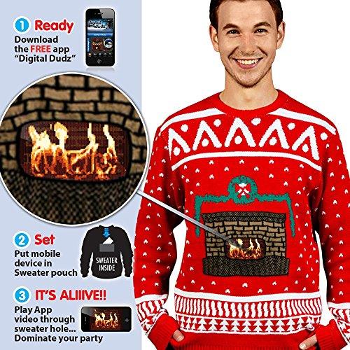 Morph Costume Co - Maglione in stile natalizio, da uomo, taglia L, rosso