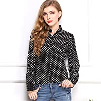 Grandes patios de blusa, blusa, camisa negra, blusa, camisa, blusa de nieve, nieve de otoño - invierno y suéter de manga larga,Black,S