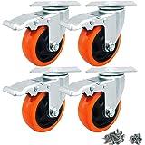 Zwenkwiel wielen Heavy Duty 100mm Swivel wiel 700KG wielen met rem voor werkbank meubels Pack van 4
