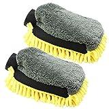 com-four® 2er Set Chenille Putz,- und Waschhandschuh in gelb, Microfaser, 26 x 18 cm (2 Stück)