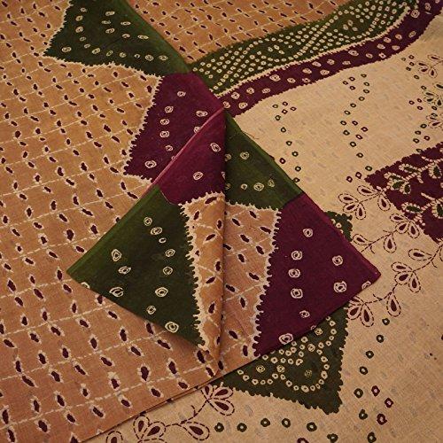 ahrgangSaree Pure Cotton Peach Blumen gedruckt Sari Handwerk Stoff ()