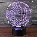 3D Lámpara de Escritorio Mesa 7 cambiar el color botón táctil de escritorio del USB LED lámpara de tabla ligera Decoración para el Hogar Decoración para Niños Mejor Regalo (Fútbol)