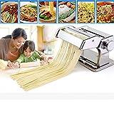 FORIN Pastamaschine Classic Nudelmaschine Atlas Edelstahl Nudelmaschine rische Pasta Maker-Edelstahl Pasta Walze Maschine Cutter mit Klemme für Spaghetti Nudeln(Silber)
