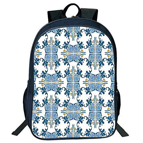 Black Mosaic Tile (HOJJP Schultasche Stylish Unisex School Students Black Traditional House Decor,Roman Tile Mosaic Desi Famous Artful Eastern Inspired Image,Blue Yellow Kids,)