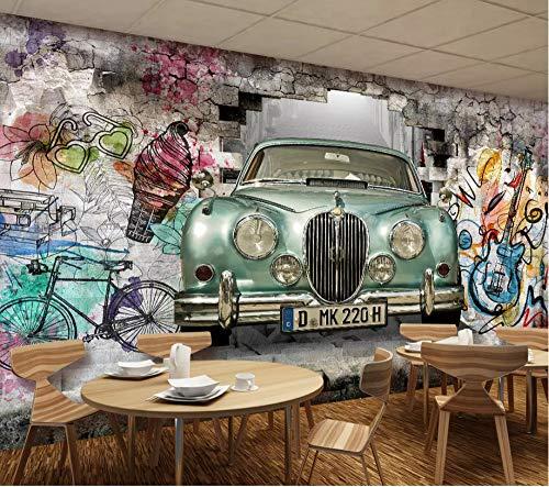 Keshj Carta Da Parati Personalizzata 3D Carta Da Parati Disegnata A Mano Di Auto D'Epoca Graffiti Muro Sfondo Muro Murale Carta Da Parati-350cmx245cm