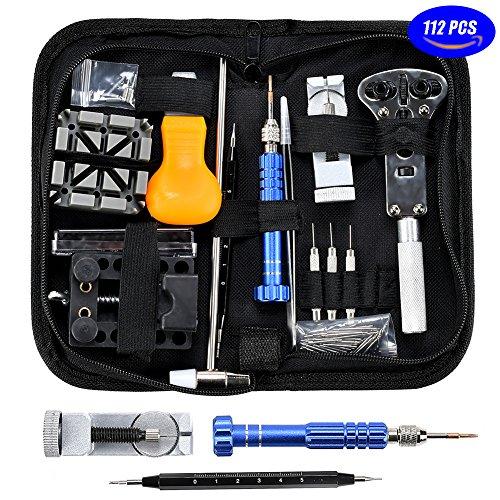 Preisvergleich Produktbild Uhrenwerkzeug Set Uhr Reparatur Uhrmacherwerkzeug - 15tlg Uhr Werkzeug Tasche Watch Tools in Schwarze Nylontasche