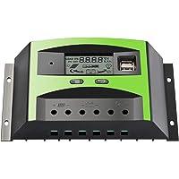 30A Contrôleur Solaire de Charge de Régulateur de Panneau de avec le Double Affichage à cristaux liquides de port USB PWM 12V / 24V,pour la protection de surcharge de Systèmes Solaires Domestiques