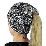 Cappello da Donna Slouchy,Yanhoo Cranio di Beanie da sci in Maglia di Lana Invernale lavorata a Maglia (Formato libero, nero con bianco)
