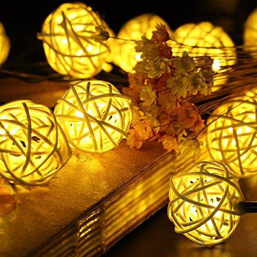 terkette Solar Warmweiß, 20 LEDS 4.8M 2Modes Außen Lichterketten Solar Lampions Wasserdicht Weihnachtsbeleuchtung für Gärten Häuser Outdoor (Warmweiß) ()