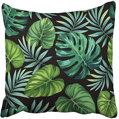 Fundas de cojín Estampado Selva negra Tropical con hojas de palmera exóticas Azul Aloha Playa Follaje...