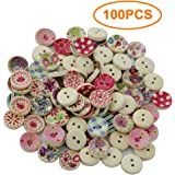 MagiDeal Pack of 100 Painted Colors Round DIY Wooden Buttons for Sewing and Crafting