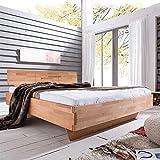 Pharao24 Bett mit Komforthöhe Kernbuche Massivholz Breite 185 cm Liegefläche 180x200