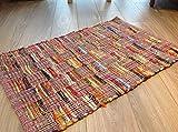 Mehrfarbiger, rosa Patchwork-Flachgewebe, indischer Flickenteppich, multi, 70cm x 140cm